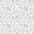 Bakery seamless pattern, food vector background of black white color. Confectionery products thin line icons - cake