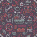 Bakery seamless pattern, food vector background of dark red color. Confectionery products thin line icons - cake