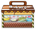 A bakery selling baked goodies and cakes illustration of on white background Stock Photos