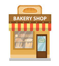 Bakery shop. Baking store building icon. Bread flat style. Showcases stores on the street. Vector illustration