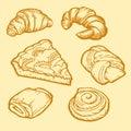 Bakery shop design. Delicious croissants, pies and buns. Vintage design.