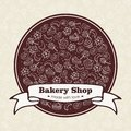 Bakery Shop emblem with hand drawn sweets and bake Stock Photo