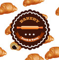 Bakery Shop Label Design. Fresh and Tasty Desserts. Croissant , Ribbons and Stars. Vector Illustration with Seamless Pattern.