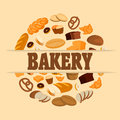 Bakery shop poster with bread, sweet bun, cookies, croissant, cake, donut and other products