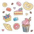 Bakery sweets doodle icons set