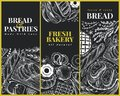 Bakery top view design templates. Hand drawn vector illustration with bread and pastry on chalk board. Retro