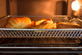 Bakery tray inside oven Stock Photography