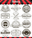 Bakery vintage design elements and badges set. Collection of vector baked goods signs, symbols and icons