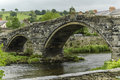 Bakewell bridge in the heart of the peak district england a typical rural english town with stone buildings market square and a Stock Images