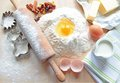 Baking cake white flavour with egg and more ingredients for Royalty Free Stock Photos