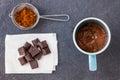 Baking a chocolate cake in a mug Royalty Free Stock Photo