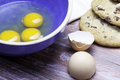 Baking chocolate chip cookies eggs egg shells Stock Image