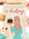 Baking concept poster, banner. Woman holding birthday cake with candles. Kitchen utensils and ingredients for baking