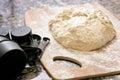 Baking dough and flour Royalty Free Stock Photo