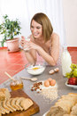Baking - Happy woman prepare healthy ingredients Royalty Free Stock Photo