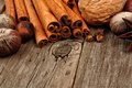 Baking ingredients and holiday spices close up on rustic wood Royalty Free Stock Photo
