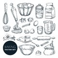 Baking ingredients and kitchen utensil icons. Vector flat cartoon illustration. Cooking and recipe design elements Royalty Free Stock Photo