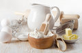 Baking ingredients on a woodden table selective focus Royalty Free Stock Photography