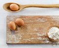 Baking ingredients on wooden table Stock Images