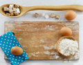 Baking ingredients on wooden table Royalty Free Stock Photography