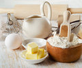 Baking ingredients on a wooden table selective focus Royalty Free Stock Photography