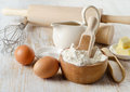Baking ingredients on a wooden table selective focus Stock Photography