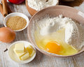 Baking ingredients on a wooden table selective focus Royalty Free Stock Image