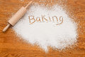 Baking notice flour on a wooden table symbolising a bakery with white space for inclusion of text Stock Photos