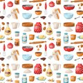 Baking pastry prepare cooking ingredients kitchen utensils homemade food preparation baker seamless pattern background