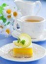 Baking sheet with homemade citrus fruit lemon bars cake cookies stock image Stock Photos