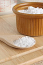 Baking soda or sodium bicarbonate used in as a leavening agent selective focus on the spoon Stock Images