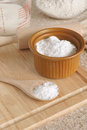 Baking soda or sodium bicarbonate used in as a leavening agent selective focus on the spoon Royalty Free Stock Photos