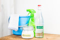 Baking soda with vinegar natural mix for effective house cleani cleaning Stock Photo
