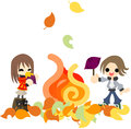Baking sweet potatoes the man and woman who roast by an open air fire on an autumn day Stock Photos
