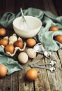Baking tools and eggs