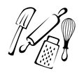Baking utensils a set of in illustration Stock Photos
