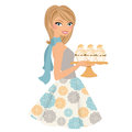 Baking woman with cupcakes