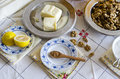 Baklava ingredients for homemade on table with vintage tableclotch Stock Image