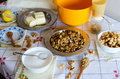 Baklava ingredients for homemade on table with vintage tableclotch Stock Photography