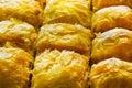 Baklava turco com fistigi de antep e fim doce do macro do amendoim do xarope acima Imagem de Stock Royalty Free