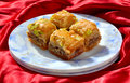 Baklawa assorted arabian sweet having nuts and honey in it Stock Photography
