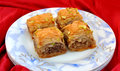 Baklawa delicious sweet layered with nuts and honey Royalty Free Stock Photos