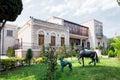 Baku azerbaijan june garden of the villa petrolea exterior nobel with classic statue and door green and horses Stock Image