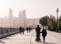 Baku boulevard at sunset the was established in and today is a popular tourist attraction Royalty Free Stock Images