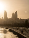 Baku boulevard at sunset the was established in and today is a popular tourist attraction Stock Photos