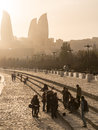 Baku boulevard at sunset the was established in and today is a popular tourist attraction Royalty Free Stock Photos