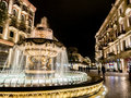 Baku fountain at the end of the nizami street in the center of azarbaijan illuminated by night Royalty Free Stock Photos