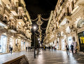 Baku nizami street in the center of azarbaijan illuminated by night Stock Photo