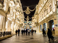 Baku nizami street in the center of azarbaijan illuminated by night Stock Images