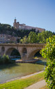 Balaguer saint christ church over segre river bridge view the city of in northeastern spain catalonia with the overlooking the the Royalty Free Stock Photo